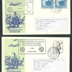 Sellos: LUFTHANSA PRIMER VUELO HAMBURG - BANGKOK 1/11/1959 LH640/641 KARACHI . Lote 115494387