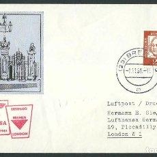 Sellos: LUFTHANSA PRIMER VUELO LH 134 BREMEN - LONDON 1 1-11-1961 . Lote 115494927