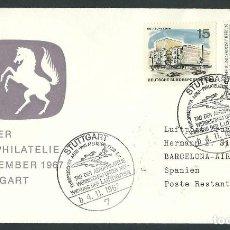 Sellos: AEROPHILATELY EXHIBITION VUELO LUFTHANSA STUTTGART - BARCELONA 4-11-1967 . Lote 115498535