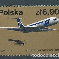 Sellos: 1979. POLONIA/POLAND. YT 2426**MNH. 50 ANIVERSARIO LÍNEAS AÉREAS POLACAS. POLISH AIRLINES.. Lote 118526487