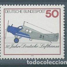 Sellos: AÑO 1976. ALEMANIA. YT 727. MINT. 50 ANIVERSARIO DE LUFHANSA.. Lote 120008335