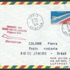 Sellos: PRIMER VUELO AIR FRANCE CONCORDE PARIS-RIO DE JANEIRO 21/1/1976 . Lote 121665667