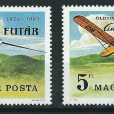 Sellos: HUNGRIA 1989 Y&T 3221/22** OLD TIMER RALLY AND 60TH ANNIVERSARY OF GLIDING IN HUNGARY. Lote 122443347
