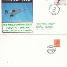 Sellos: CANADA, PRIMER VUELO DEL CONCORDE ENTRE TORONTO Y LONDRES EL 31-8-1980, CON LLEGADA. Lote 124175307