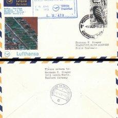 Sellos: MEJICO, PRIMER VUELO MERIDA-FRANKFURT DE LUFTHANSA DE 4-4-1970. Lote 127225551