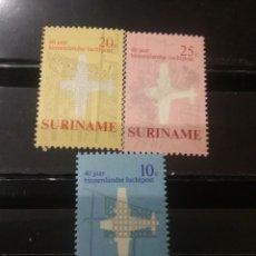 Sellos: SELLOS R. SURINAM (SURINAME) NUEVOS. 1970. AVIACION. TRANSPORTES. PLANOS. CIUDADES. AVION. PARAMAIBO. Lote 130938608