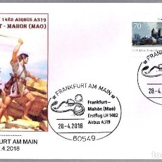 Sellos: MATASELLOS PRIMER VUELO AIRBUS A319 FRANKFURT-MAHON (MAO-BALEARES). FRANKFURT, ALEMANIA, 2018. Lote 130997580