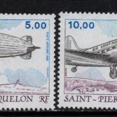 Sellos: SAN PIERRE AEREO 66/67** - AÑO 1988 - AVIONES - DC 3 - ZEPPELIN. Lote 133640102