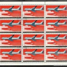 Sellos: COREA 1978 HOJA BLOQUE DE SELLOS TEMATICA AVIONES COMERCIALES- AIR SUIZA - AIRCRAFT . Lote 135625682