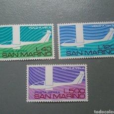 Sellos: 3 SELLOS SAN MARINO 140 / 142 VOLO A VELA AVIONES AÑO 1974 NUEVO. Lote 136310878