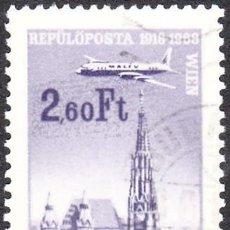 Sellos: 1968 - HUNGRIA - AVIONES SOBREVOLANDO CIUDADES - VIENA - CORREO AEREO - YVERT 300. Lote 140754986