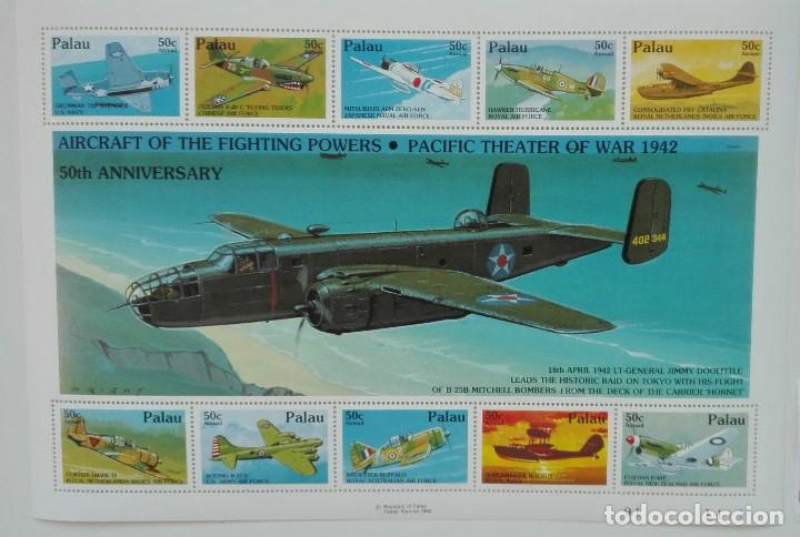 SELLOS PALAU 1992 50 ANIVERSARIO DE LA SEGUNDA GUERRA MUNDIAL AVIONES (Sellos - Temáticas - Aviones)