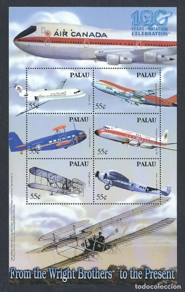 SELLOS PALAU 2003 Y&T 1949/54** 100 YEARS OF AVIATION AIR CANADA (Sellos - Temáticas - Aviones)