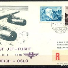 Sellos: LIECHTENSTEIN, SOBRE, SAS, FIRST JET - FLIGHT, 1965, VADUZ, ZÜRICH, OSLO. Lote 147860806