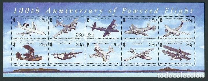 SELLOS BRITISH INDIAN OCEAN TERRITORY B.I.O.T 2003 100TH ANNIVERSARY OF POWERED FLIGHT (Sellos - Temáticas - Aviones)