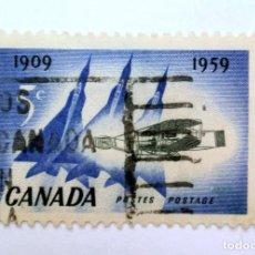 Sellos: SELLO POSTAL CANADA 1959, 5 C, AVIONES SILVER DART Y DELTA WING PLANES, CONMEMORATIVO, USADO. Lote 152897198