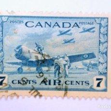 Sellos: SELLO POSTAL CANADA 1943, 7 C,AVIONES, CAMPO DE ENTRENAMIENTO DEL AIRE, CORREO AÉREO, USADO. Lote 152900070