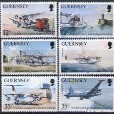 Sellos: GUERNESEY 1989 IVERT 455/60 *** 50º ANIVERSARIO DEL AEROPUERTO DE GUERNESEY - AVIONES. Lote 153110654