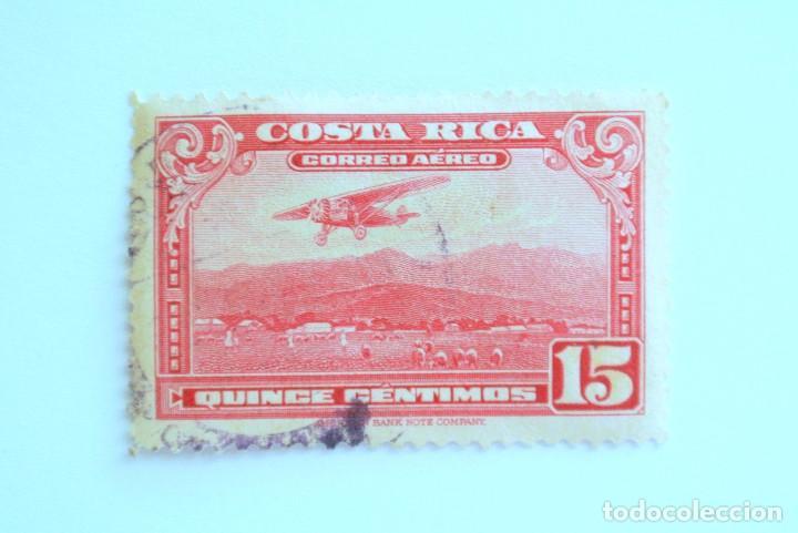 SELLO POSTAL COSTA RICA 1953, 15 C, AEROPLANO SOBRE EL AEROPUERTO DE SAN JOSE, USADO (Sellos - Temáticas - Aviones)