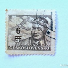Sellos: SELLO POSTAL CHECOSLOVAQUIA 1949, 6 K , CAPITAN PILOTO AVIADOR FRANTISEK NOVA, CORREO AÉREO, USADO. Lote 155014278