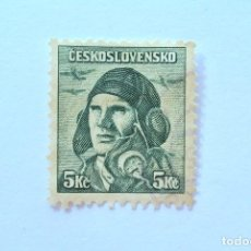Sellos: SELLO POSTAL CHECOSLOVAQUIA 1945, 5 K , CAPITAN PILOTO AVIADOR ALOIS VASATKO, CONMEMORATIVO, USADO. Lote 155039374