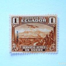 Sellos: SELLO POSTAL ECUADOR 1939, 1 S/.., AVION RYAN B-5 BROUGHAM SOBRE MT. CHIMBORAZO, CORREO AÉREO, USADO. Lote 155488986