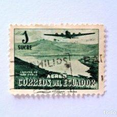 Sellos: SELLO POSTAL ECUADOR 1954, 1 S/. ,AVION DOUGLAS DC-4 SOBRE LAGUNA DE SAN PABLO, CORREO AÉREO, USADO. Lote 155545062