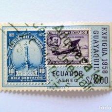 Sellos: SELLO POSTAL ECUADOR 1958 , 2 S/. EXFIGUA 1958 , GUAYAQUIL, CORREO AÉREO, USADO. Lote 155559014