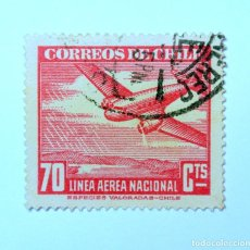 Sellos: SELLO POSTAL CHILE 1945, 70 CTS. LINEA AÉREA NACIONAL, AVION Y MONTAÑAS , CORREO AÉREO, USADO. Lote 156908598