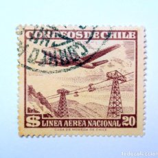 Sellos: SELLO POSTAL CHILE 1959 , 20 $. LINEA AEREA NACIONAL, AVION SOBRE TELEFERICO, COREO AÉREO, USADO. Lote 157137194