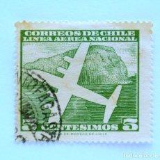 Sellos: SELLO POSTAL CHILE 1961 , 5 C. LINEA AEREA NACIONAL, AEROPLANO SOBRE MONTAÑA, USADO. SELLO DIFÍCIL. Lote 157310542
