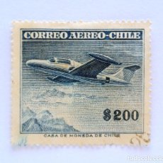 Sellos: SELLO POSTAL CHILE 1958 , 200 $ , AVION MONOPLANO BEECHCRAFT . USADO.. Lote 157654918