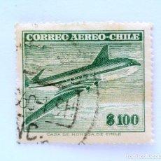 Sellos: SELLO POSTAL CHILE 1960 , 100 $ , AVION COMET AIR LINER, USADO.. Lote 157662390