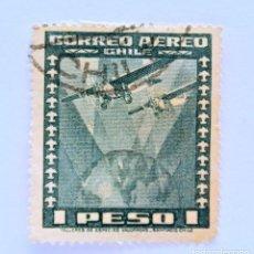 Sellos: SELLO POSTAL CHILE 1945 , 1 $ , 2 AEROPLANOS SOBRE LA TIERRA, USADO.. Lote 157663838