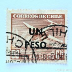 Sellos: SELLO POSTAL CHILE 1951, 1 $, LINEA AEREA NACIONAL, AVION LOCKHEED 12 AL AMANECER, OVPT , USADO. Lote 157776502