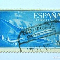 Sellos: SELLO POSTAL ESPAÑA 1956, 3 PTA, AVION SUPERCONSTELACION Y CARABELA SANTA MARIA , USADO. Lote 157780150