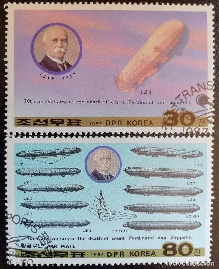 1987. AVIONES. COREA NORTE. 1896 + A 25. FERDINAND VON ZEPPELIN. USADO. (Sellos - Temáticas - Aviones)