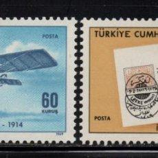 Sellos: TURQUIA 1925/26** - AÑO 1969 - AVIONES - 55º ANIVERSARIO DEL PRIMER CORREO AEREO. Lote 159114890