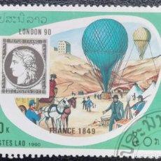 Sellos: 1990. AVIONES. LAOS. 955. EXPO INTERNACIONAL FILATÉLICA LONDRES. GLOBOS AEROSTÁTICOS. USADO.. Lote 159648814