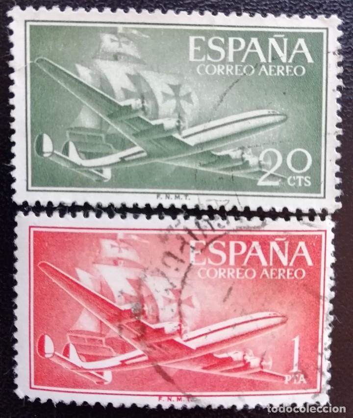 1955. AVIONES. ESPAÑA. 1169, 1172. AVIÓN SUPERCONSTELLATION Y CARABELA 'SANTA MARÍA'. BARCOS. USADO. (Sellos - Temáticas - Aviones)