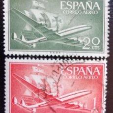 Sellos: 1955. AVIONES. ESPAÑA. 1169, 1172. AVIÓN SUPERCONSTELLATION Y CARABELA 'SANTA MARÍA'. BARCOS. USADO.. Lote 161949242