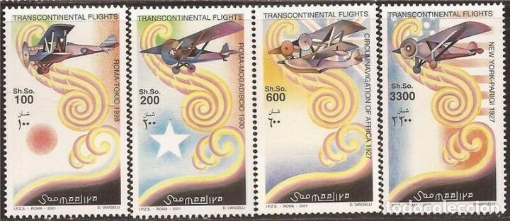 SELLOS SOMALIA 2001 VUELOS TRANSCONTINENTALES (Sellos - Temáticas - Aviones)