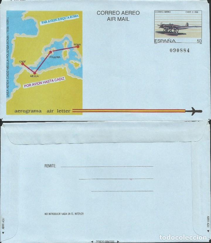 ESPAÑA 1989 - ES A214 - AEROGRAMA - LINEA CADIZ ROMA (Sellos - Temáticas - Aviones)