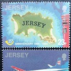 Sellos: 1994. AVIONES. JERSEY. 663 / 667. ISLA, AVIONES VANGUARD (BEA) Y AIR JERSEY. SERIE CORTA. NUEVO.. Lote 165077426
