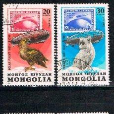 Sellos: MONGOLIA Nº 1414/7, 50 ANIVERSARIO DEL GRAFF ZEPPELIN, VUELOS EN EL ARTICO, USADO. Lote 168472372