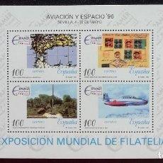Sellos: 1996. AVIONES. ESPAÑA. HB (3433). AVIACIÓN Y ESPACIO, ESPAMER '96. SEVILLA. NUEVO.. Lote 169584132
