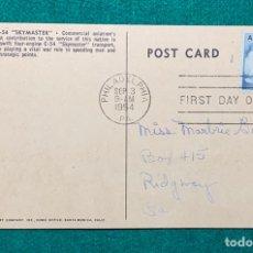 "Sellos: POST CARD DOUGLAS C-54 ""SKYMASTER"" PRIMER DIA CIRCULACIÓN AÑO 1954. Lote 171367393"