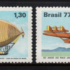Sellos: BRASIL 1283/84** - AÑO 1977 - AVIONES Y DIRIGIBLES - ANIVERSARIOS DE LA AVIACIÓN. Lote 171690920