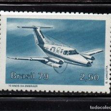 Sellos: BRASIL 1378** - AÑO 1979 - AVIONES - AVION EMB - 121 INGU. Lote 173576727