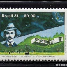 Sellos: BRASIL 1503** - AÑO 1981 - AVIONES - 75º ANIVERSARIO DEL VUELO DE SANTOS DUMONT. Lote 173576843
